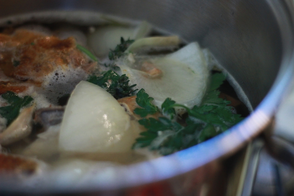 Chicken broth brewing.