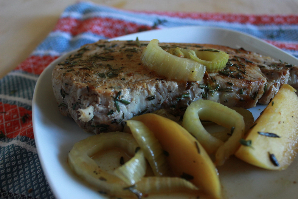 herb brined pork chops with roasted fennel + apples