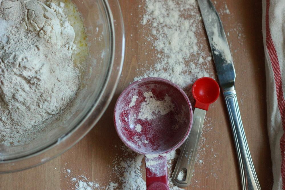 making pizza dough | half galley kitchen