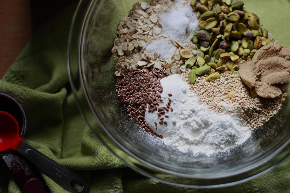 brown butter, pistachio, quinoa + flaxseed granola ingredients | half galley kitchen