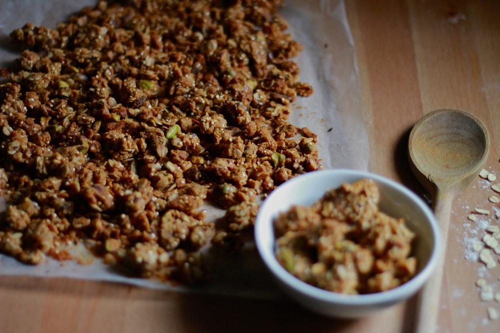 brown butter, pistachio, quinoa + flaxseed granola | half galley kitchen