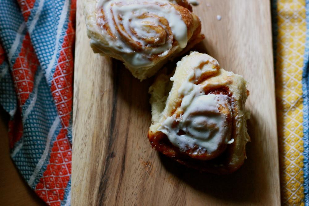 orange cinnamon buns with cream cheese glaze | half galley kitchen