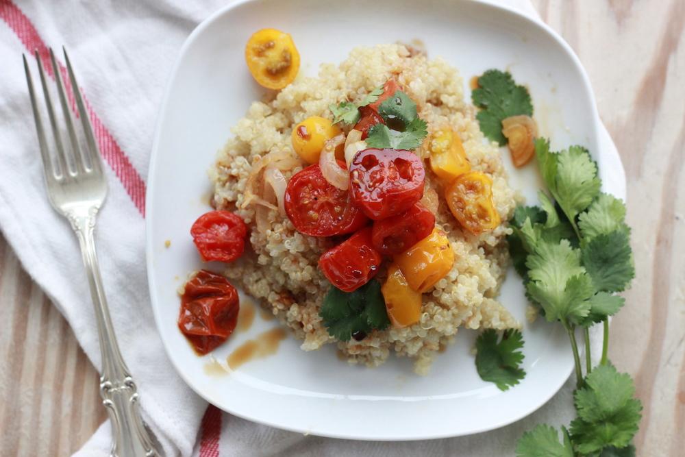 roasted cherry tomatoes, quinoa + pomegranate molasses drizzle | half galley kitchen
