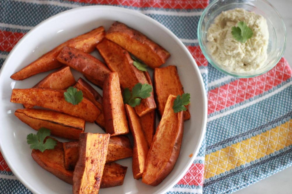 chipotle sweet potato wedges + cashew aioli | half galley kitchen