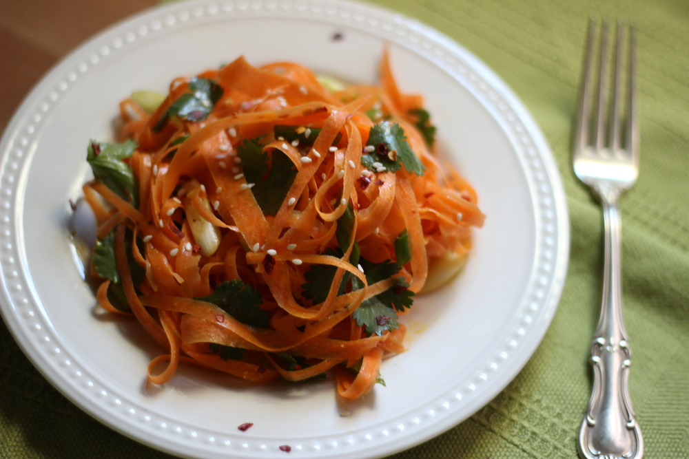 thai shaved carrot salad with peanut lime vinaigrette | half galley kitchen