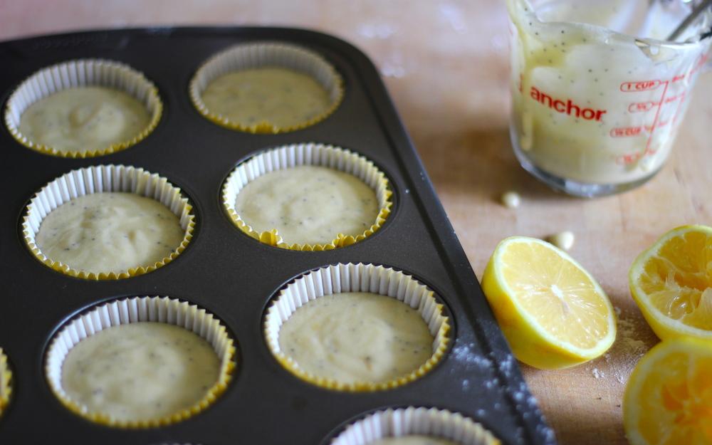 making lemon poppyseed cupcakes at half galley kitchen