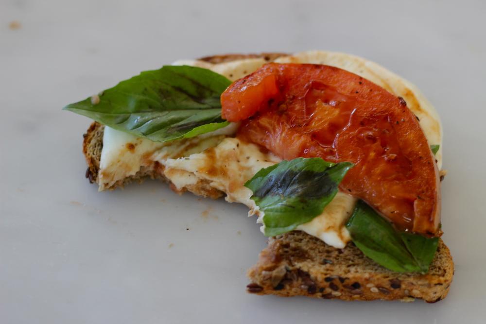 open faced sandwich no. 2: fried tomato caprese