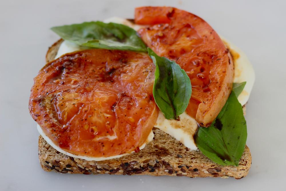 open faced sandwich no. 2: fried tomato caprese | half galley kitchen