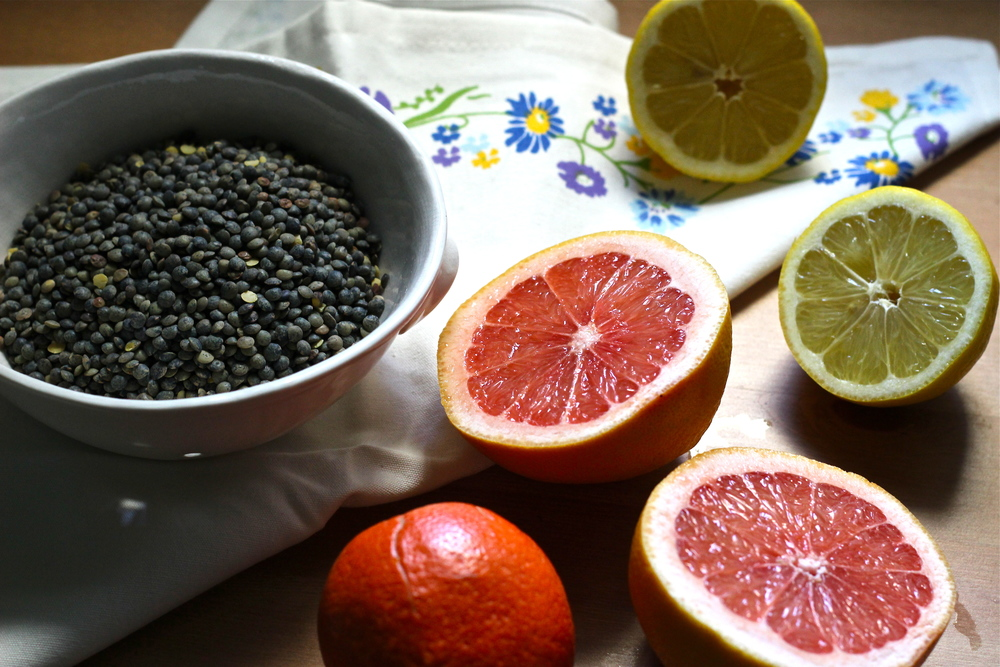 ingredients for green lentil salad   half galley kitchen