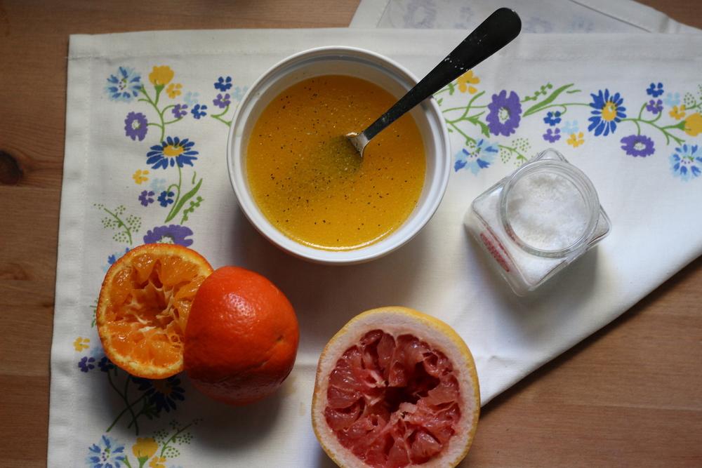 citrus vinaigrette    half galley kitchen