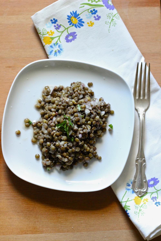 lentil salad with citrus vinaigrette    half galley kitchen