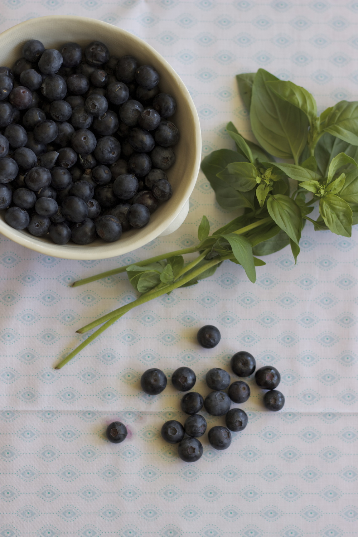 blueberries + basil for hand pies    half galley kitchen