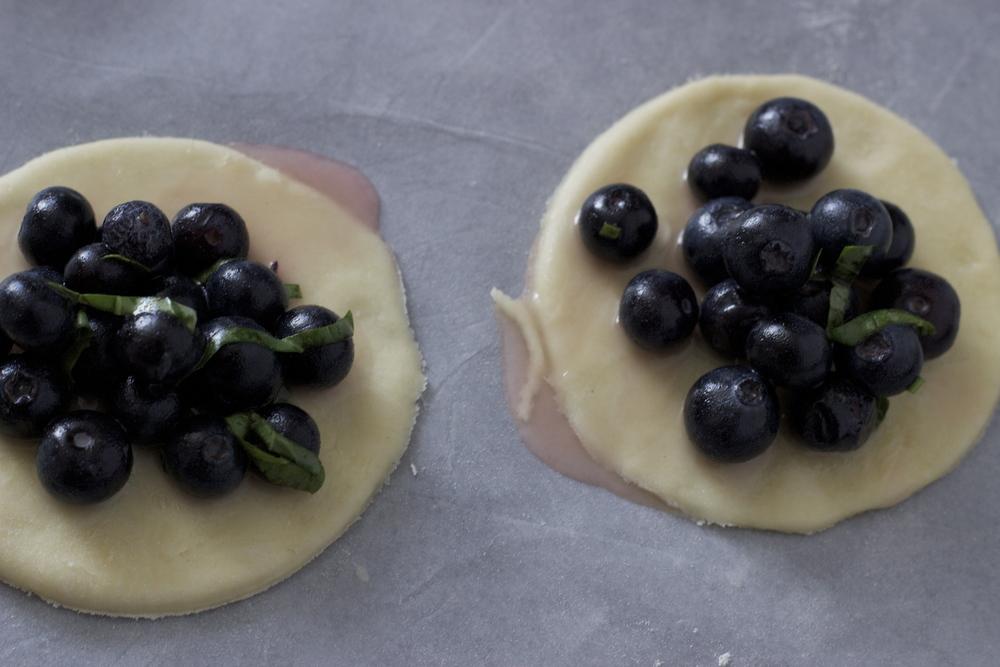 assembling the blueberry, meyer lemon + basil salt handpies    half galley kitchen