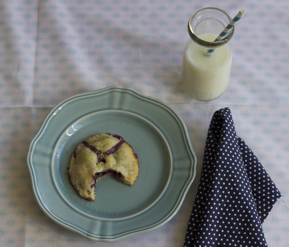 blueberry, meyer lemon + basil salt hand pies    half galley kitchen