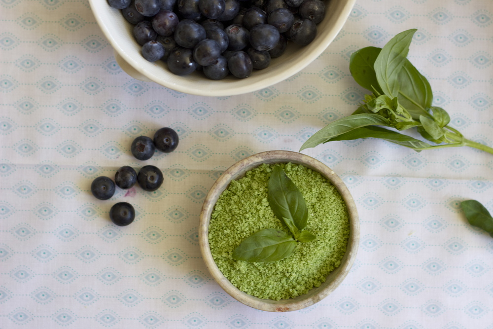 blueberries + basil salt    half galley kitchen