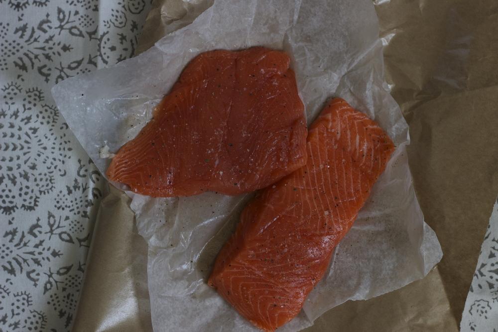 copper river salmon filets || half galley kitchen