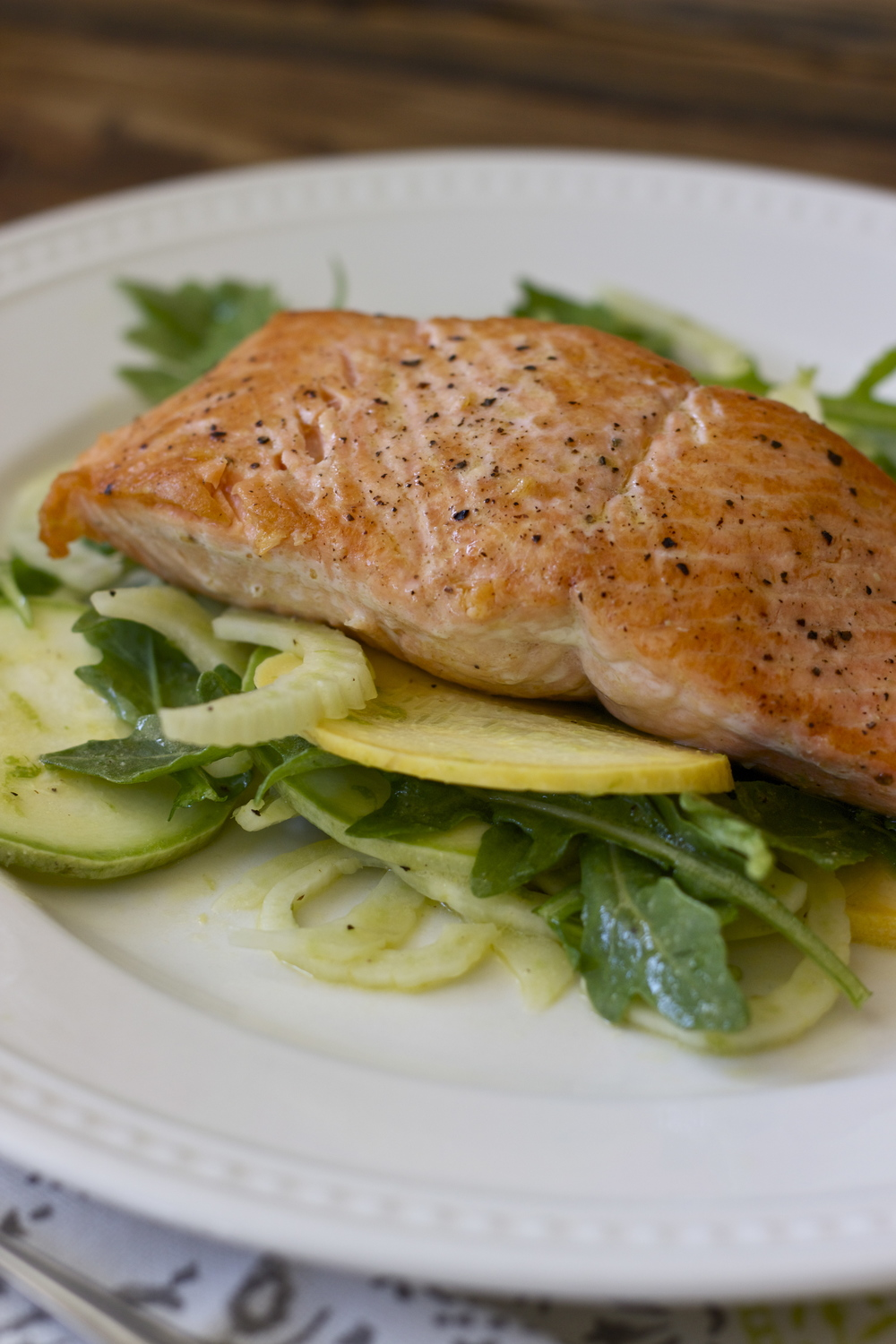 pan-fried salmon with summer squash, fennel salad + lime vinaigrette || half galley kitchen