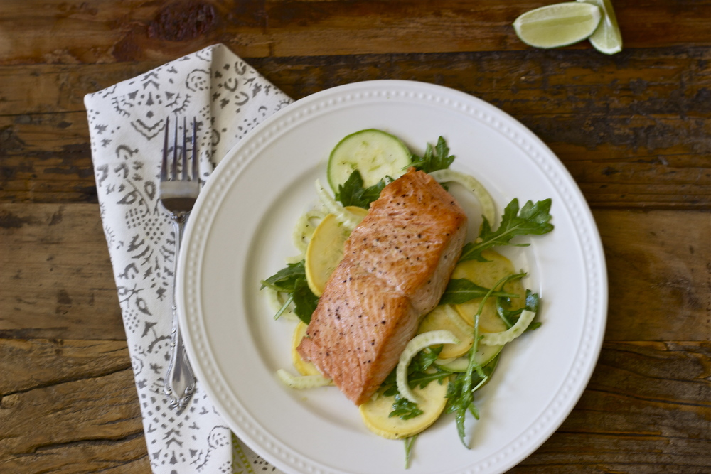 pan-fried salmon with summer squash + fennel salad || half galley kitchen