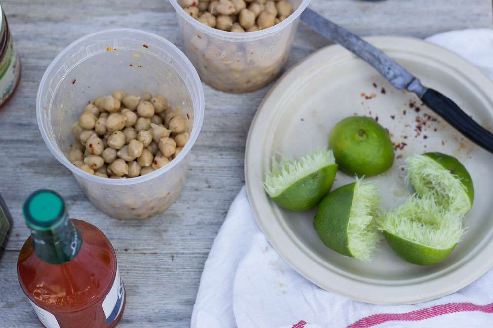 camping chickpea salad || half galley kitchen