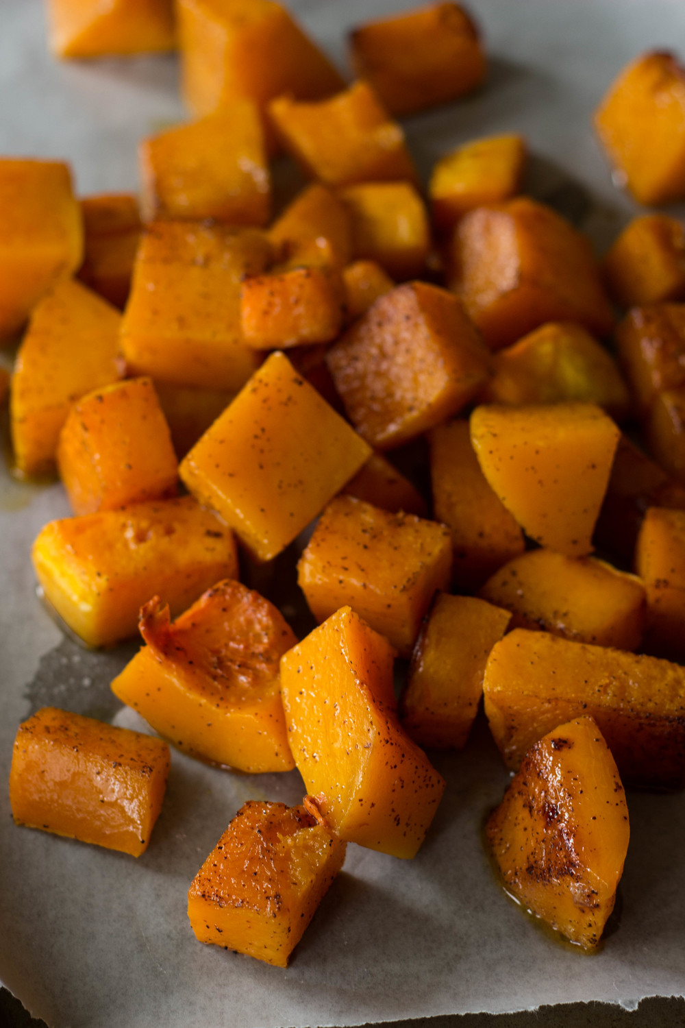 chili roasted butternut squash || half galley kitchen