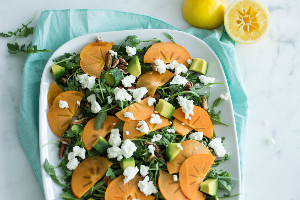 persimmon + arugula salad with meyer lemon vinaigrette || half galley kitchen