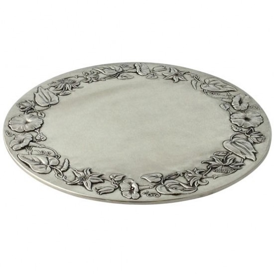 Match Pewter Floral Border Serving Plate