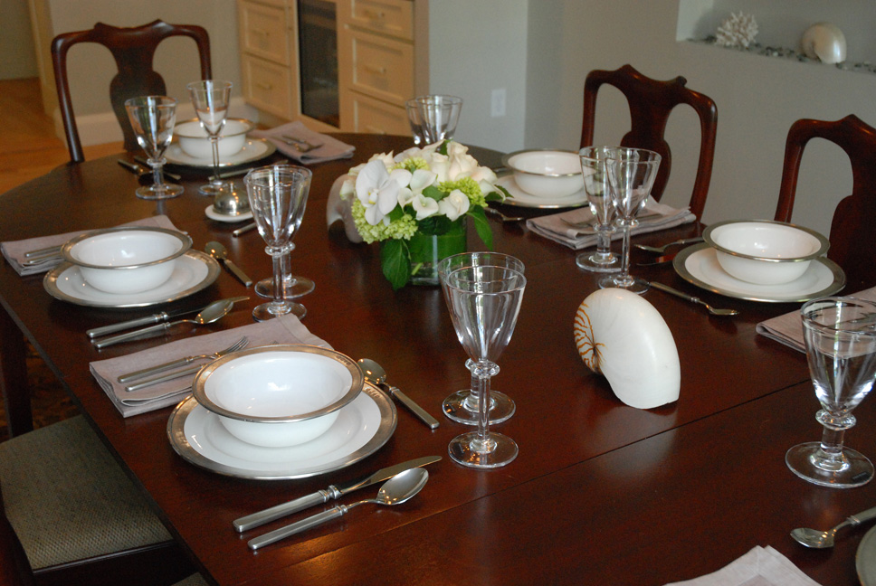 Match Pewter dinnerware and flatware and Simon Pearce Cavendish wine glass