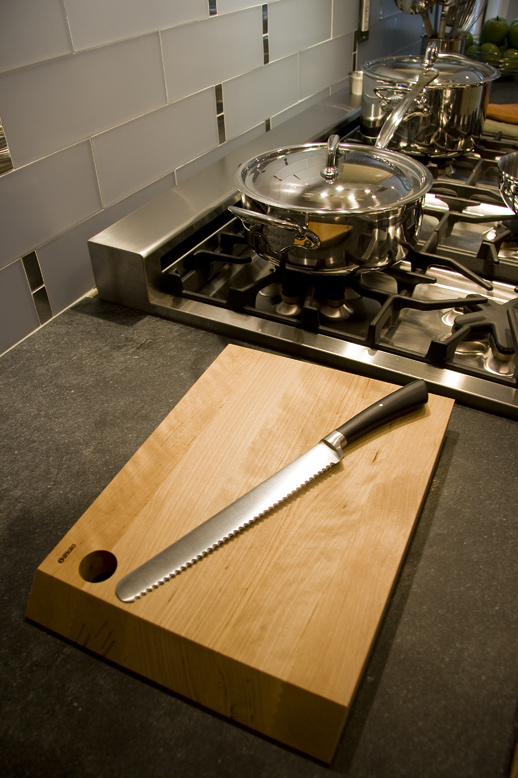 iittala cutting board with Mauviel stainless steel cookware