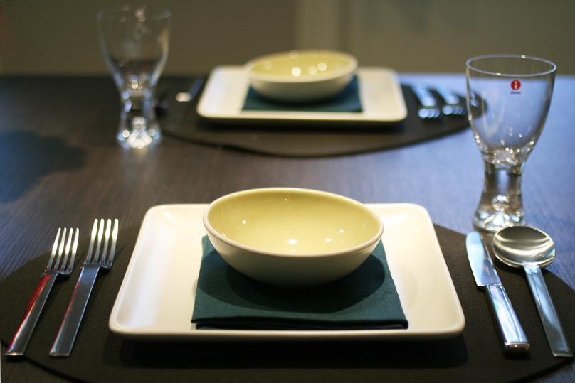 Heath Ceramics on Verso Kivi wool felt tablemat