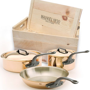 Copper Cookware with Cast Iron handles by Mauviel