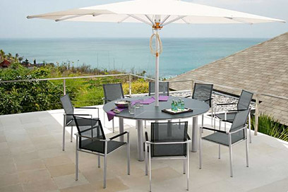 Barlow Tyrie Mercury stainless steel chairs and equinox table