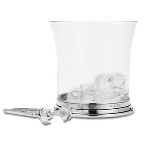 Match Pewter Crystal Ice Bucket with Tongs