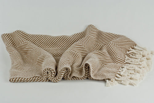 Brahms Mount Herringbone Throw Cotton Natural-Golden Brown