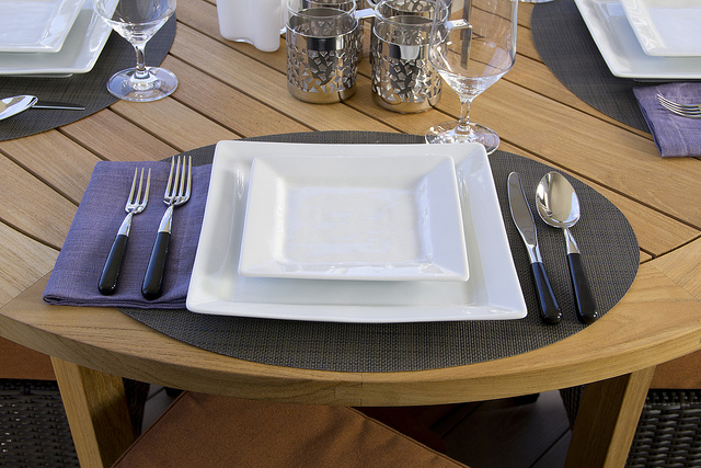 Place Setting on a Barlow Tyrie Table
