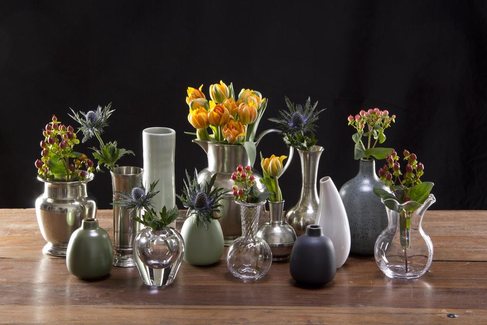 Glass, Pewter and Ceramic Vases