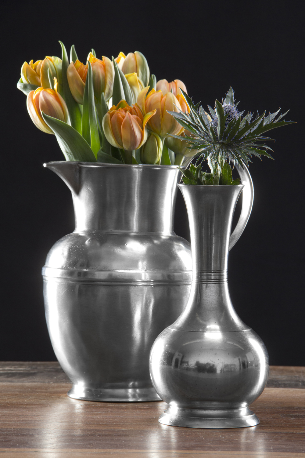 Match Pewter Vases