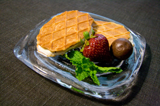 pizzelle ice cream sandwiches on a simon pearce thetford plate
