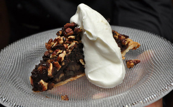 Pecan and Taza Chocolate Pie with Whipped Cream served on a Kosta Boda Limelight dessert plate