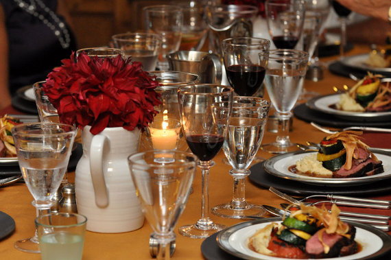 Lamb sirloin served on table set with Libeco Belgian line, Match Pewter Convivio plates, and Simon Pearce wine glasses, with Revol wine pitcher vases