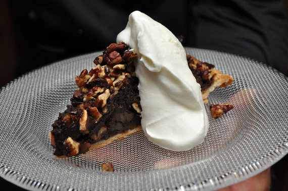 Petsi Pies' Pecan and Taza Chocolate Pie with Whipped Cream, served on a Kosta Boda Limelight dessert plate