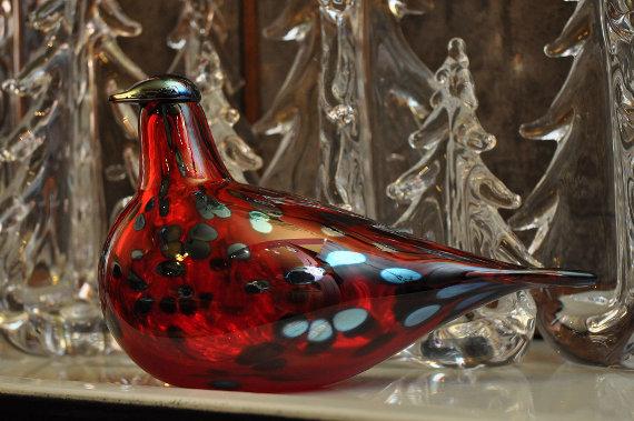 iittala Toikka glass bird and Simon Pearce glass Evergreen