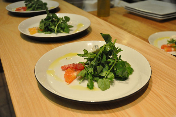 Coupole, Orange, and Watercress, served on a Jars Ceramics Tima dessert plate