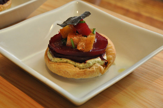 Roasted Beet Tartlet with Vermont Goat Cheese, Fried Sage, and Candied Walnuts, served on a Pillivuyt Quartet plate