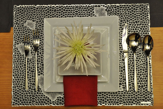 Table setting with Kosta Boda Eclipse glasses, David Mellor flatware, Pillivuyt dinnerware, Libeco Home linen