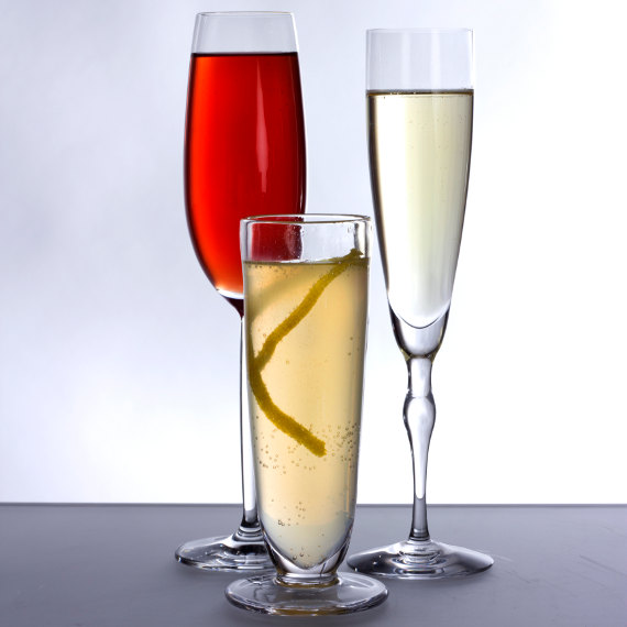 champagne glasses by schott zwiesel, simon pearce, and orrefors