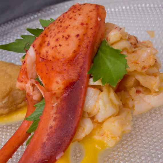 lobster salad served on kosta boda limelight plate