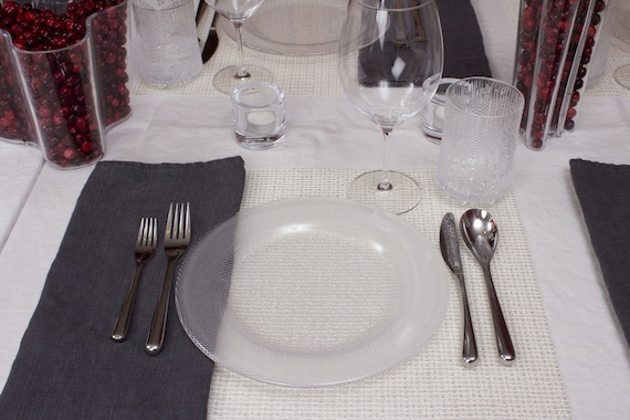 winter place setting with chilewich lattice placemats and iittala piano workshop flatware