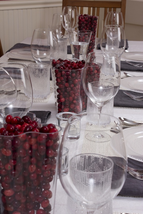 table setting with iittala aalto vases and schott zwiesel cru bordeaux glasses