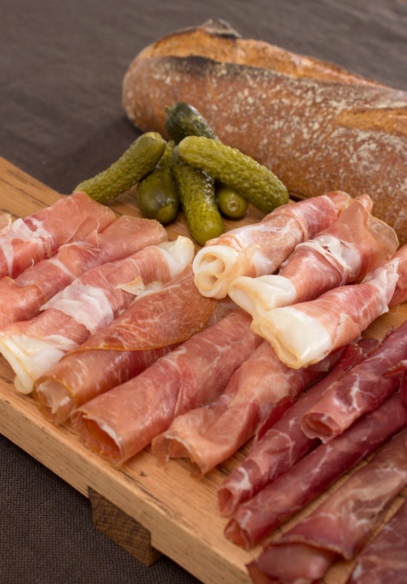 charcuterie platter on jk adams cutting board