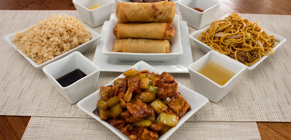 chinese food in pillivuyt quartet servingware